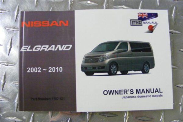 Owners Manual - Nissan Elgrand E51